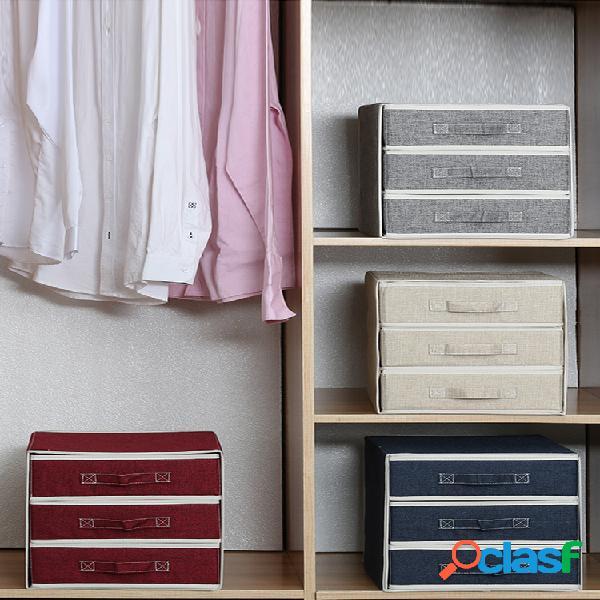 Boîte de rangement en coton et lin, tiroir, sous-vêtements à la maison, chaussettes, finition, boîte de rangement pour vêtements