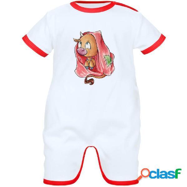Barboteuse bébé signe du zodiaque: taureau - blanc avec bords rouges 0-1 mois