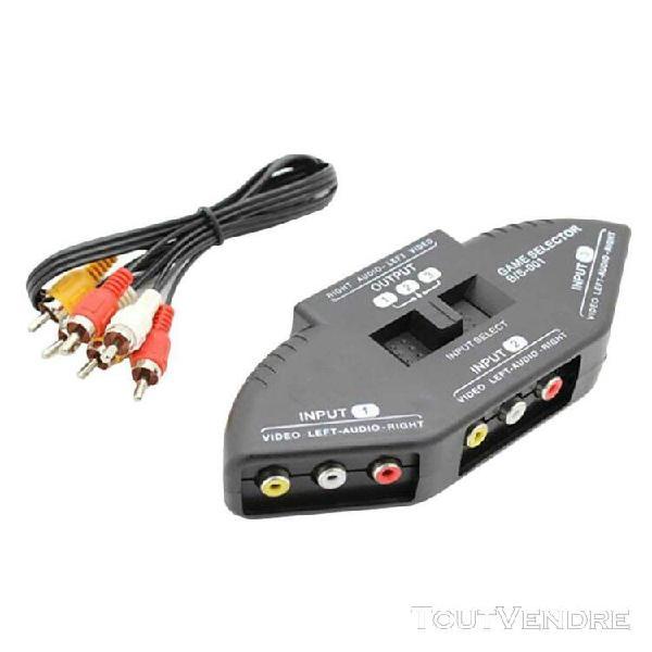 3-way audio vidéo av rca sélecteur répartiteur composite