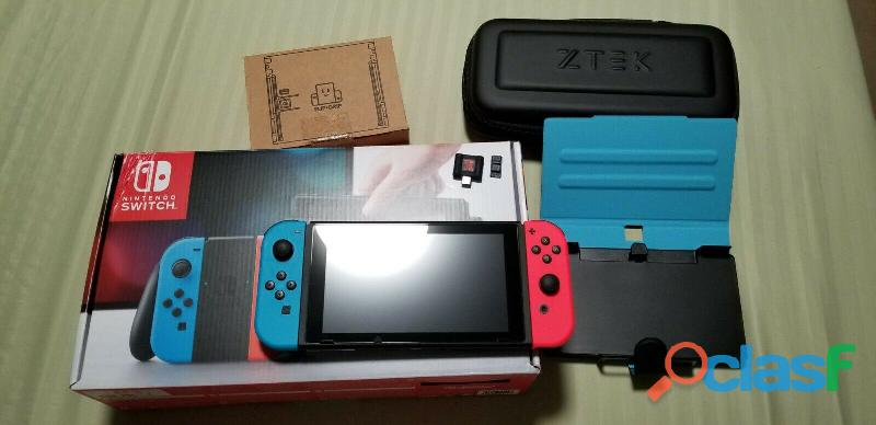 Nintendo Switch   32GB Blue/Red Console CIB + EXTRASS
