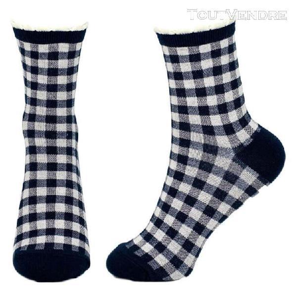 Bleu marine et blanc de femmes check socks picot