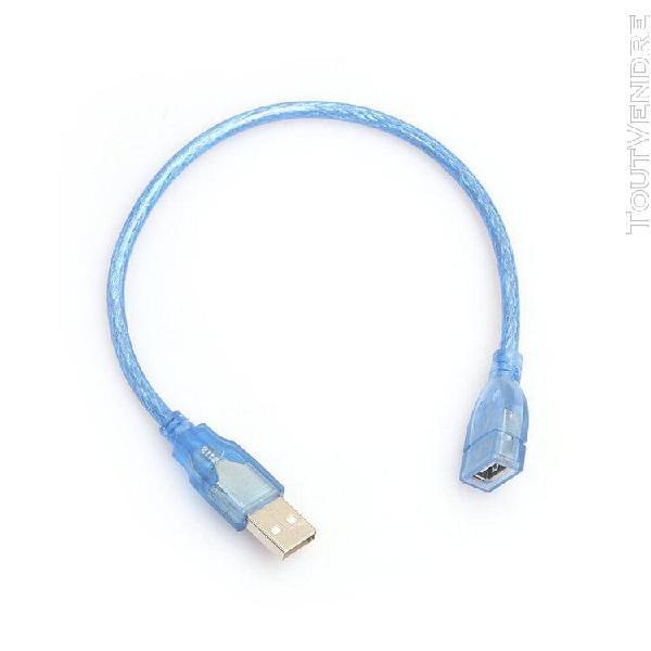 30cm usb 2.0 extension cable transparent bleu mâle à