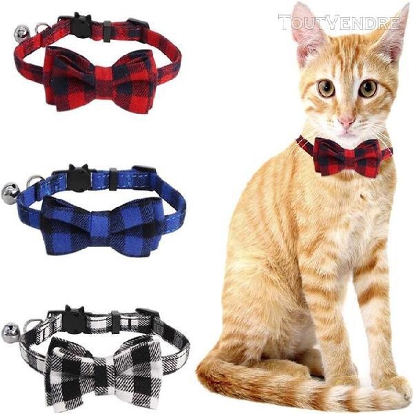 Colliers pour chats,collier avec clochette et noeud papillon