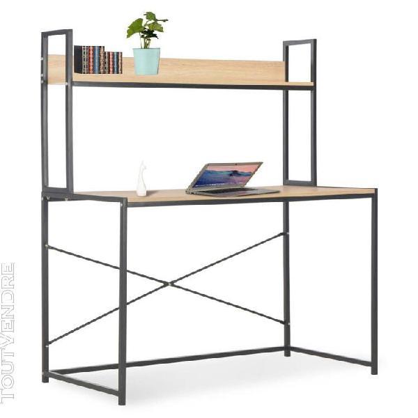 Bureau d'ordinateur noir et chêne 120 x 60 x 138 cm