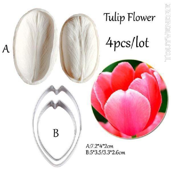 Tulipe pétale veiner & cutter silicone moule fondant moule