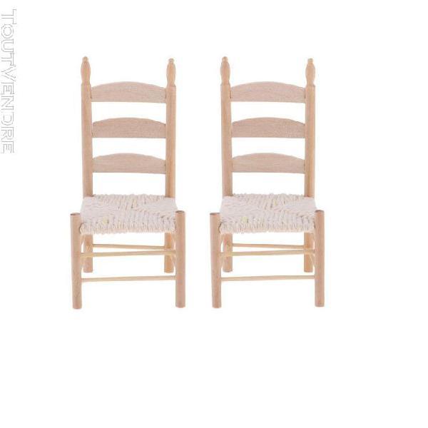 1/12 scale miniature chaise en bois meubles de maison de pou