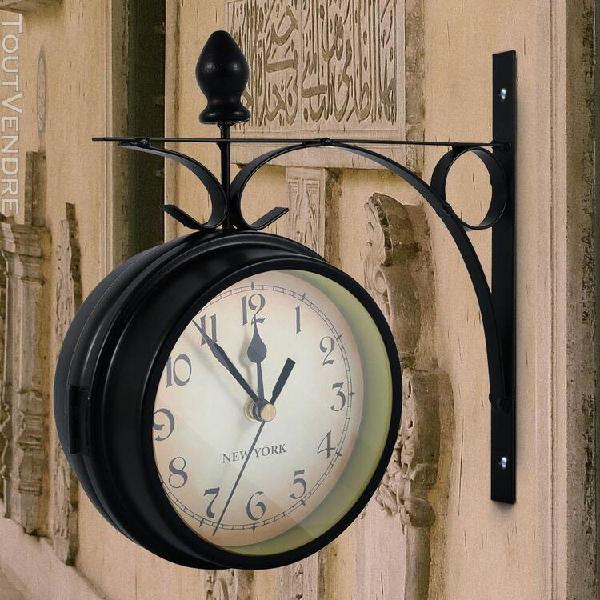 Horloge murale extérieure suspendue rétro double face