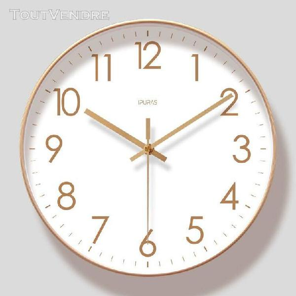 Horloge murale, grande horloge de style moderne, ronde, sile