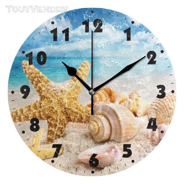 Horloge murale ronde à piles, silencieuse, horloge de