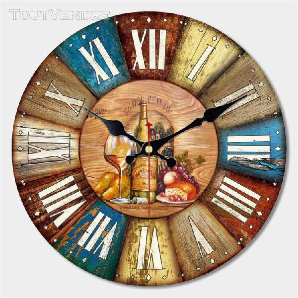 Horloge murale à suspendre en métal, style rétro, horloge