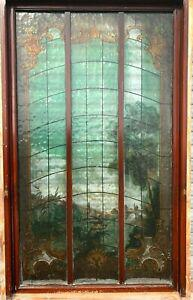 Panneau en verre peint façon vitrail décor de paysage xx