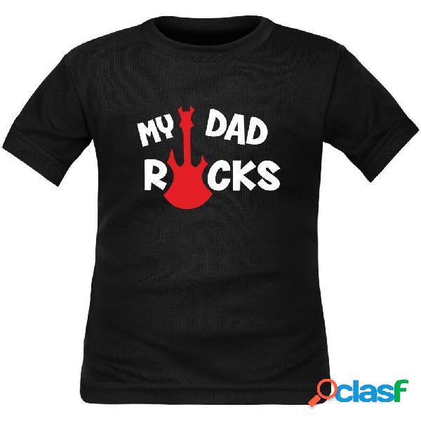 T-shirt enfant rock: my dad rocks - violet 6 ans courtes