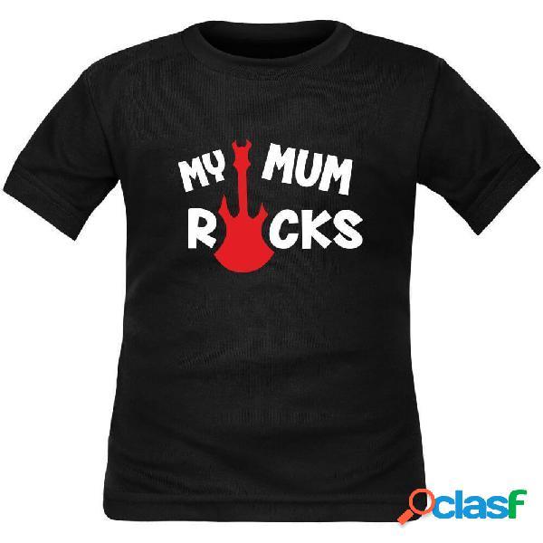 T-shirt enfant rock: my mum rocks - rouge 10 ans courtes