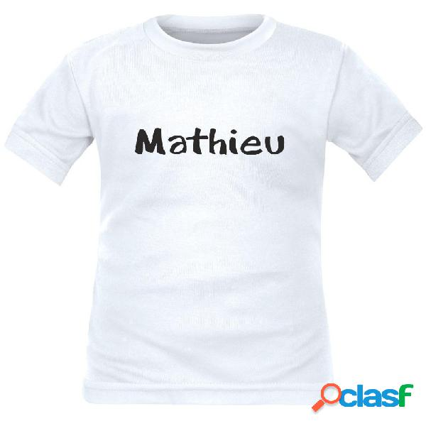 Tee shirt enfant avec prénom de votre enfant - rouge 2 ans courtes