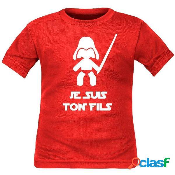 Tee shirt enfant geek: je suis ton fils - rouge 2 ans courtes