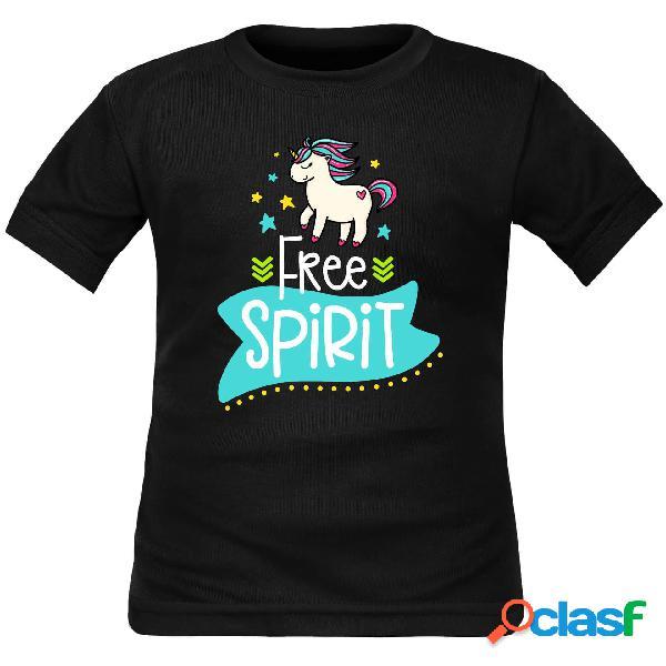 Tee shirt enfant original: free spirit (licorne) - noir 2 ans courtes