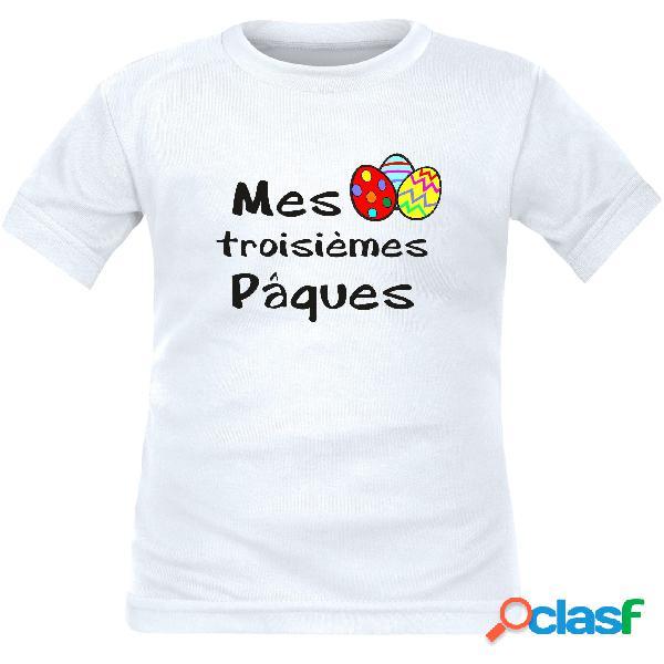 Tee shirt enfant original: mes 2˚, 3˚, 4˚... pâques (à personnaliser !) - blanc 2 ans courtes