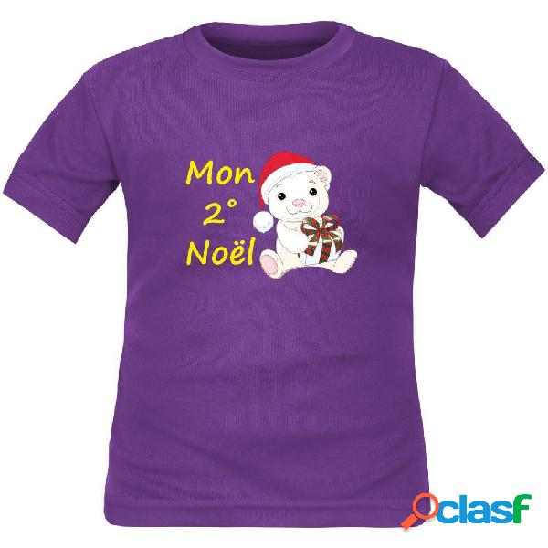 Tee shirt enfant original: mon 2˚, 3˚, 4˚... noël (à personnaliser !) - violet 10 ans courtes