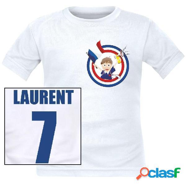 Tee shirt enfant personnalisé de foot: supporteur de france - blanc 10 ans courtes