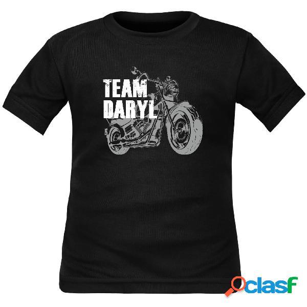 Tee shirt enfant rigolo pour les fans de walking dead: team daryl - noir courtes 10 ans