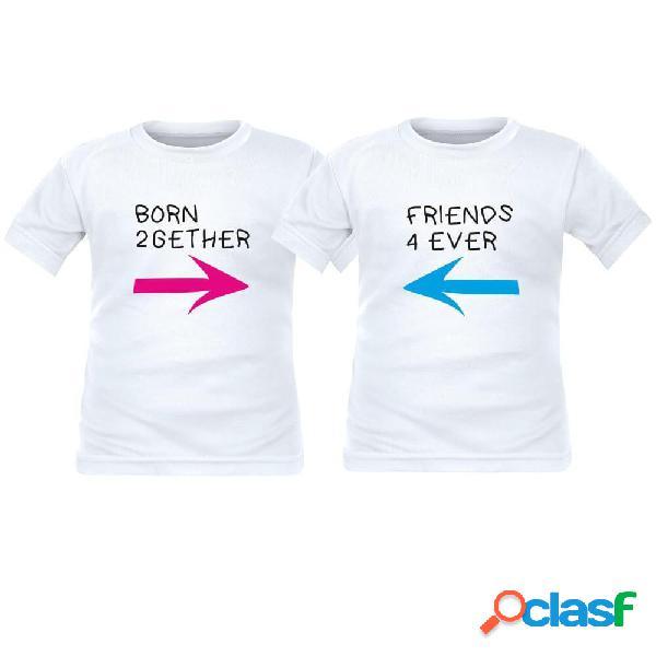 2 tee shirts enfant jumeaux: born 2gether / friends 4 ever