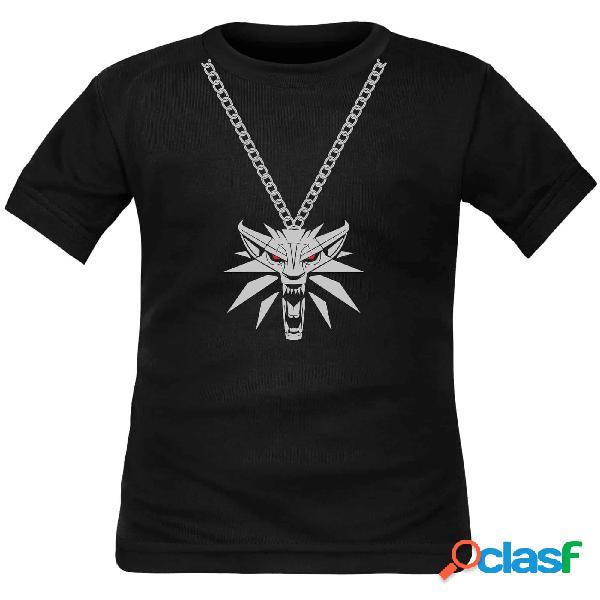 Tee shirt enfant the witcher 3: ecole du loup - le médaillon - noir courtes 4 ans