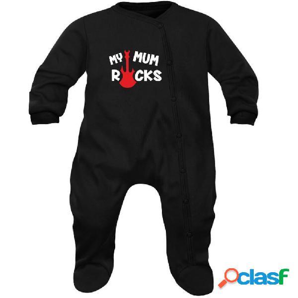 Pyjama bébé rock: my mum rocks - rose 3-6 mois