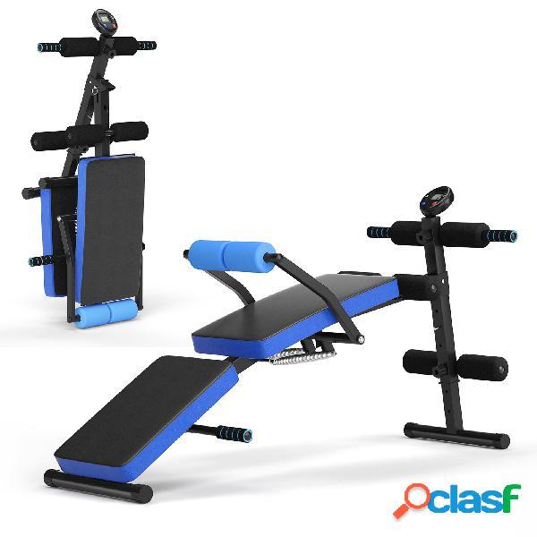 Costway banc de musculation pliable abdos et sit-up avec 5 rouleaux de mousse charge 130kg noir et bleu