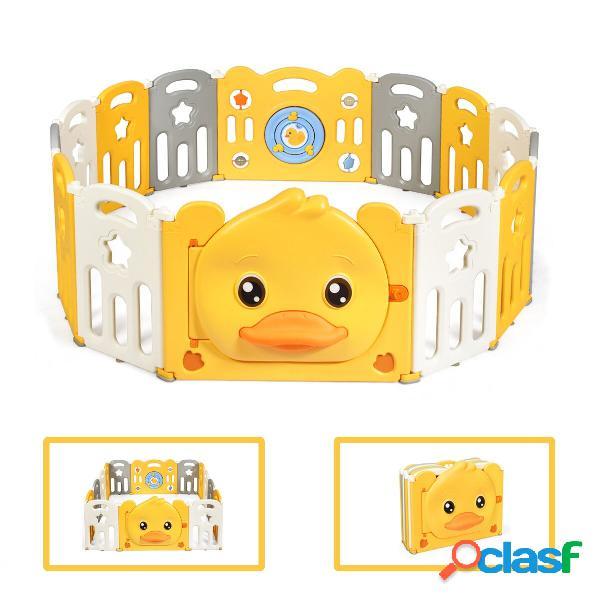 Costway parc bébé en plastique pliable 14 pièces 80 x 39 5 x 67 5cm barrière d'enfant en hdpe sans bpa