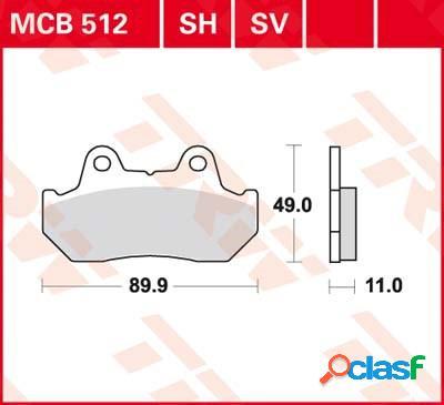Trw plaquettes de frein sv/sh, et mâchoires moto, mcb512sv