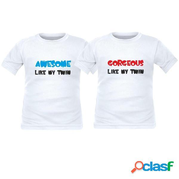 2 tee shirts enfant jumeaux: awesome / gorgeous like my twin