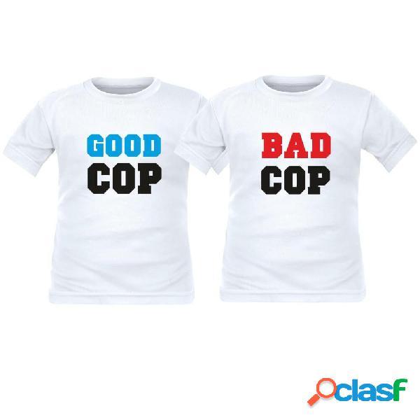 2 tee shirts enfant jumeaux: good cop / bad cop