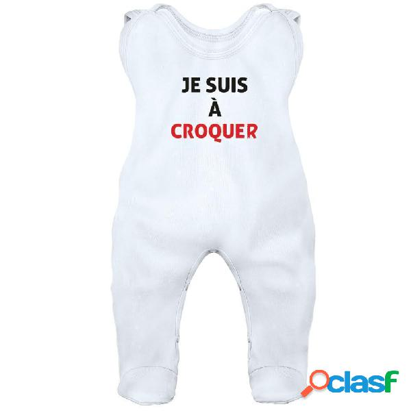 Grenouillère bébé originale: je suis à CROQUER - Blanc 6-12 mois