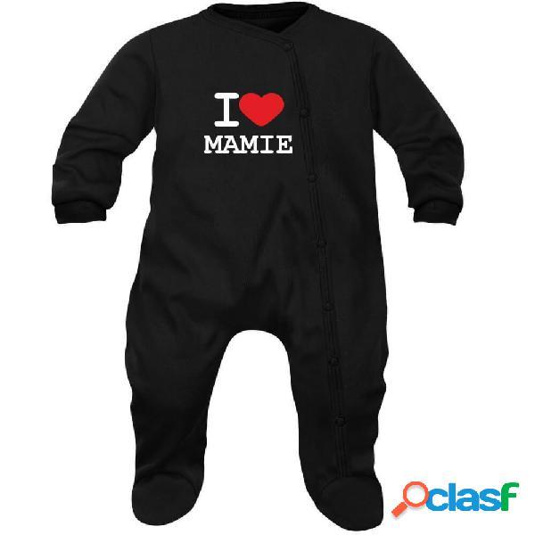 Pyjama bébé famille: I LOVE MAMIE - Noir 0-1 mois