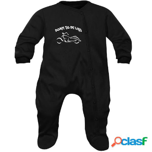 Pyjama bébé rock: BORN TO BE WILD - Blanc 3-6 mois