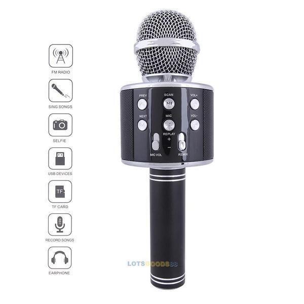 microphone de karaoké sans fil portable bluetooth avec