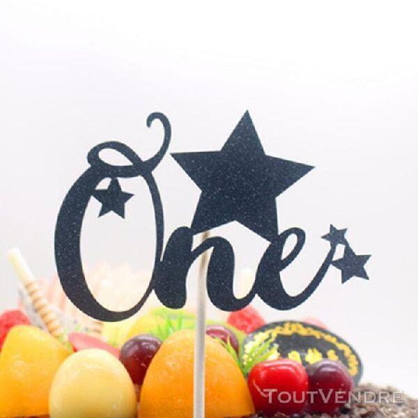 Gâteau d'anniversaire topper un avec étoile paillettes