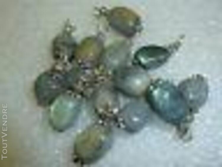 Pendentif labradorite perles multiforme &argent plaqué