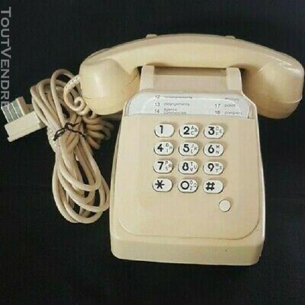 Telephone fixe vintage ivoire a touches socotel s63 ptt cabl