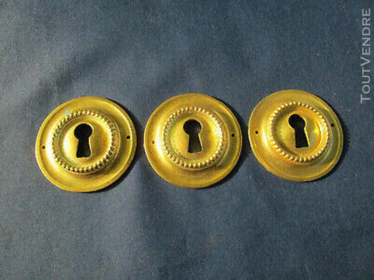 3 entrées serrure rondes laiton doré style louis xvi