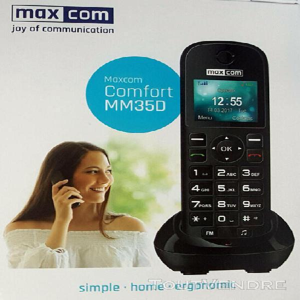 Téléphone maxcom fixe sans fil avec carte sim m35d, noir