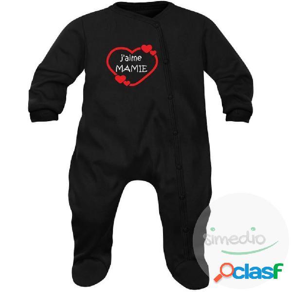 Pyjama bébé famille: j'aime mamie (7 couleurs au choix) - noir 3-6 mois