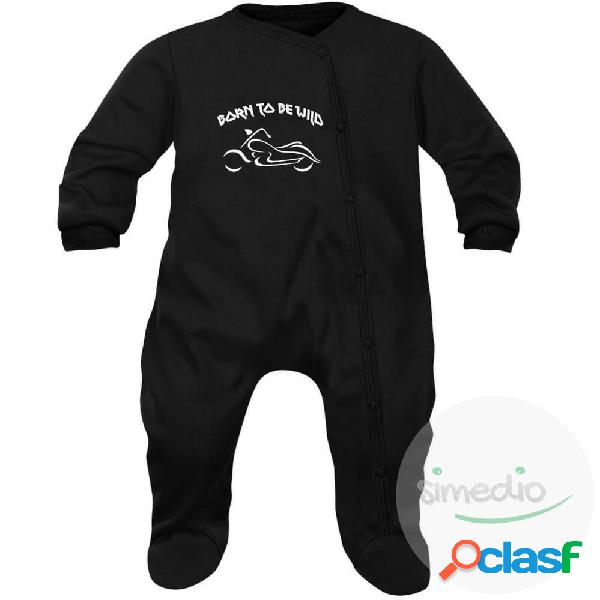 Pyjama bébé rock: born to be wild - noir 3-6 mois