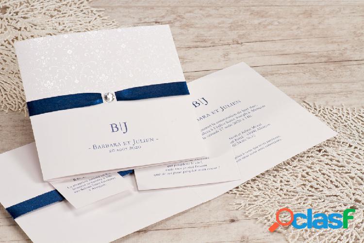 Faire part mariage ruban bleu arabesques nacrées | buromac 106004