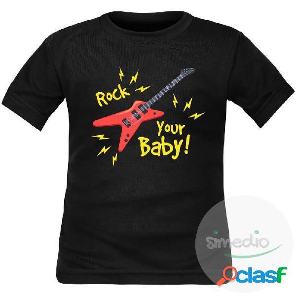T-shirt enfant original: rock your baby - blanc 6 ans courtes