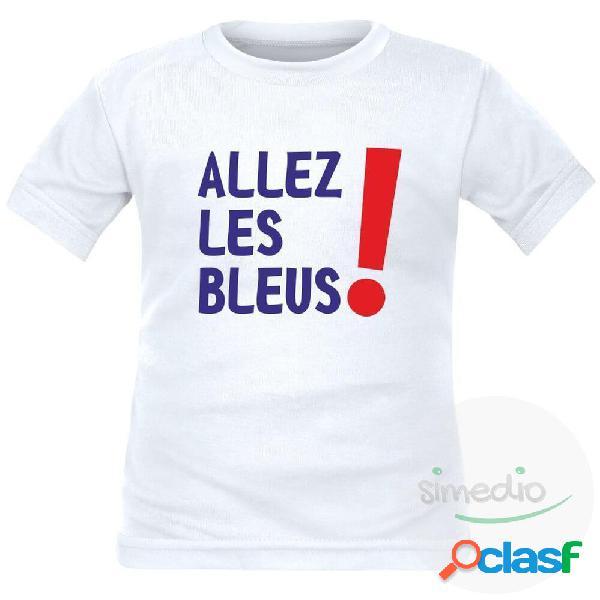 Tee shirt enfant de sport: Allez les BLEUS ! - Blanc 10 ans Courtes