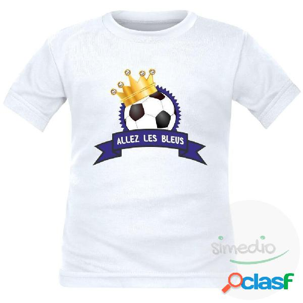 Tee shirt enfant de sport: ballon avec couronne - allez les Bleus ! - Blanc 10 ans Courtes