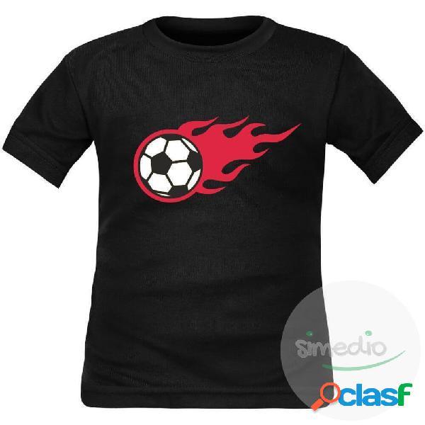 Tee shirt enfant de sport: Ballon de FOOT en flammes - Noir 2 ans Longues