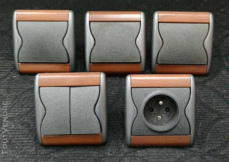 Interrupteurs et prise legrand sagane: 3 simples, 1 double
