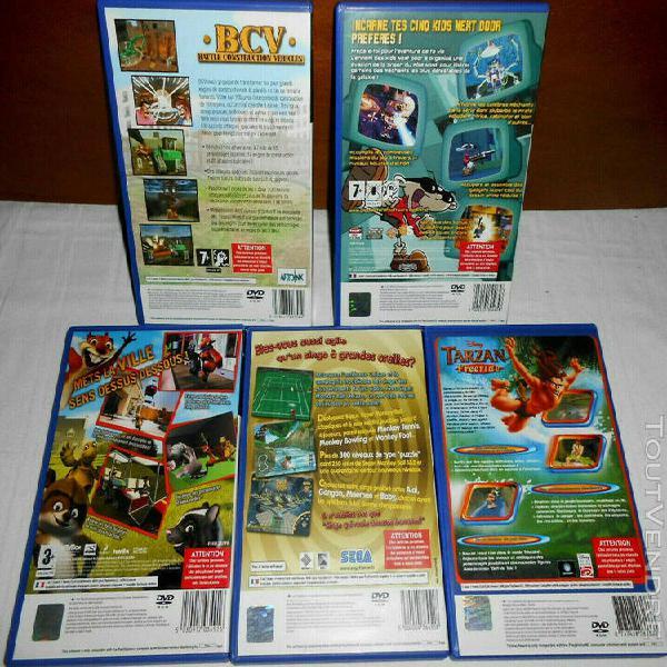 Lot 5 jeux ps2 sony playstation2 /fr:tarzan /kids next door/